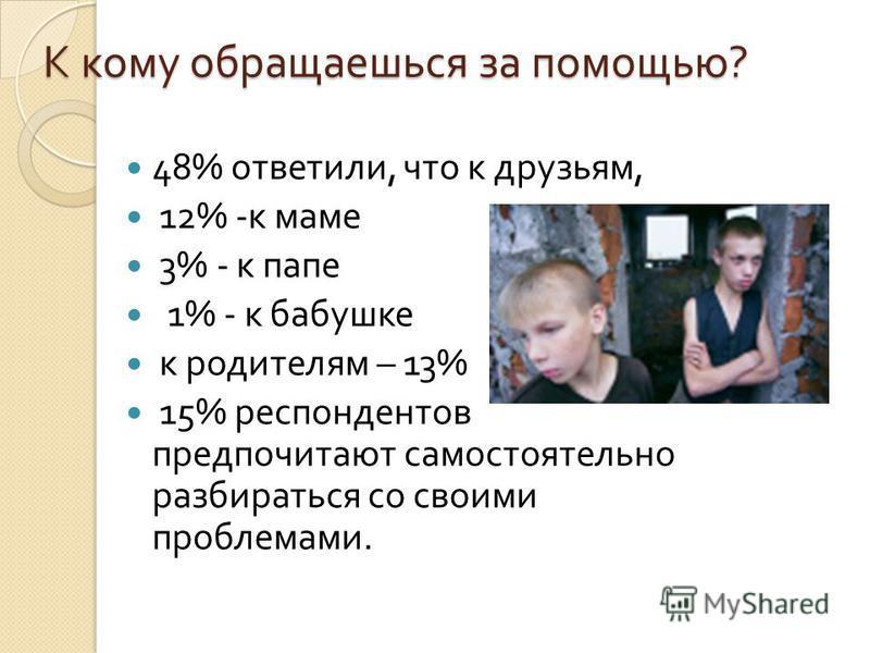К кому обращаешься за помощью ? 48% ответили, что к друзьям, 12% - к маме 3% - к папе 1% - к бабушке к родителям – 13% 15% респондентов предпочитают самостоятельно разбираться со своими проблемами.