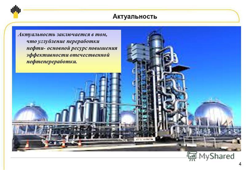 4 Актуальность Актуальность заключается в том, что углубление переработки нефти- основной ресурс повышения эффективности отечественной нефтепереработки.
