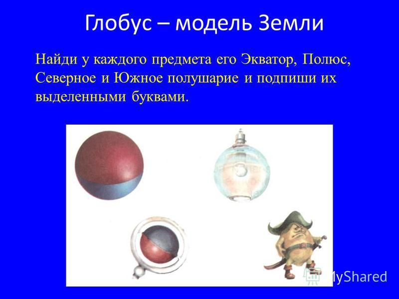 Найди у каждого предмета его Экватор, Полюс, Северное и Южное полушарие и подпиши их выделенными буквами.