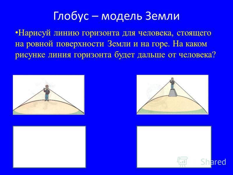 Глобус – модель Земли Нарисуй линию горизонта для человека, стоящего на ровной поверхности Земли и на горе. На каком рисунке линия горизонта будет дальше от человека?