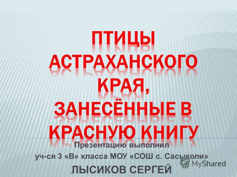 Презентацию выполнил уч-ся 3 «В» класса МОУ «СОШ с. Сасыколи» ЛЫСИКОВ СЕРГЕЙ