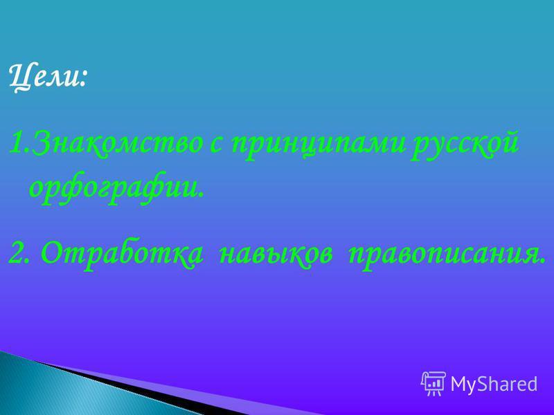 Цели: 1. Знакомство с принципами русской орфографии. 2. Отработка навыков правописания.