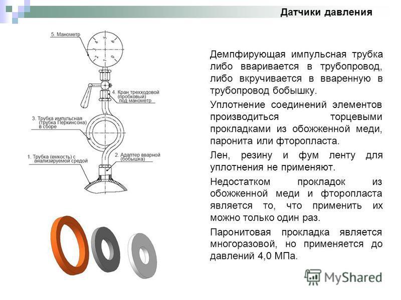 Демпфирующая импульсная трубка либо вваривается в трубопровод, либо вкручивается в вваренную в трубопровод бобышку. Уплотнение соединений элементов производиться торцевыми прокладками из обожженной меди, паронита или фторопласта. Лен, резину и фум ле