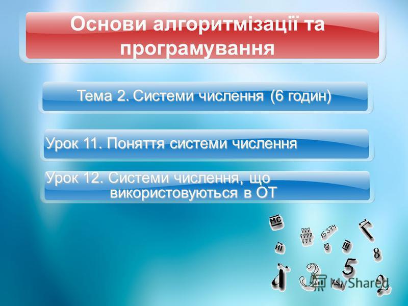 Тема 2. Системи числення (6 годин) Урок 11. Поняття системи числення Урок 12. Системи числення, що використовуються в ОТ Основи алгоритмізації та програмування
