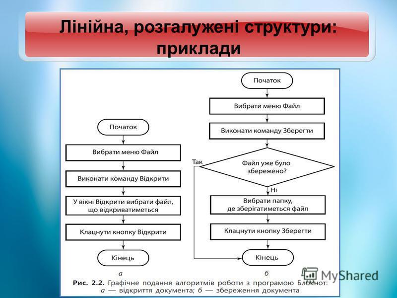 Лінійна, розгалужені структури: приклади
