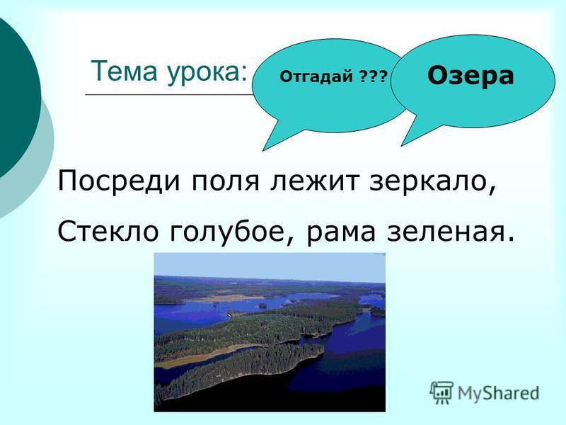 Тема урока: …………… Отгадай ??? Посреди поля лежит зеркало, Стекло голубое, рама зеленая. Озера