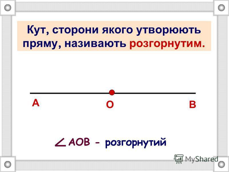 Кут – частина площини, обмежена двома променями із спільним початком А В О