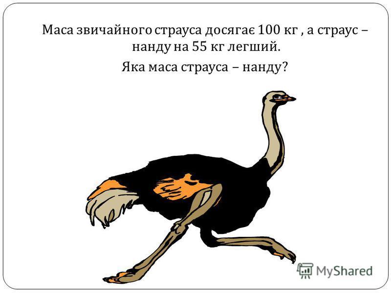 Маса звичайного страуса досягає 100 кг, а страус – нанду на 55 кг легший. Яка маса страуса – нанду ?