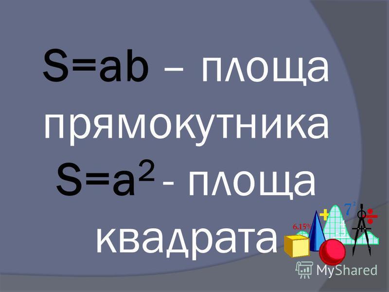 S=ab – площа прямокутника S=a 2 - площа квадрата