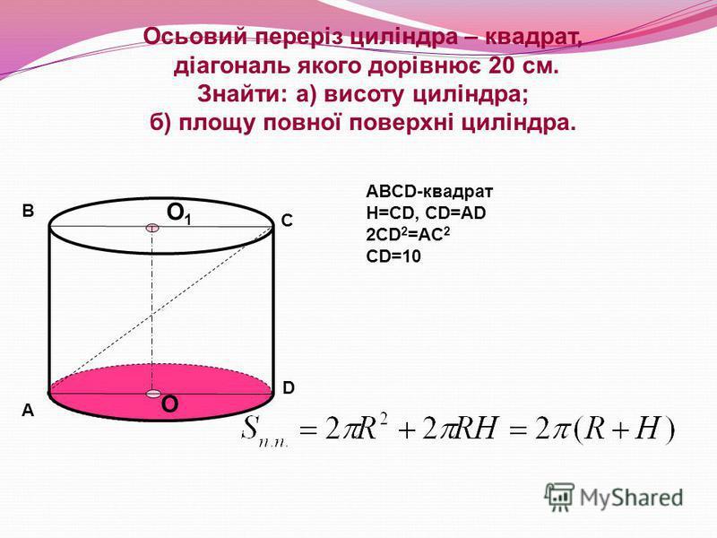 Осьовий переріз циліндра – квадрат, діагональ якого дорівнює 20 см. Знайти: а) висоту циліндра; б) площу повної поверхні циліндра. О О1О1 А В С D ABCD-квадрат Н=СD, CD=AD 2CD 2 =AC 2 CD=10