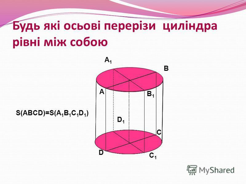 Будь які осьові перерізи циліндра рівні між собою A B C D A1A1 B1B1 C1C1 D1D1 S(ABCD)=S(A 1 B 1 C 1 D 1 )