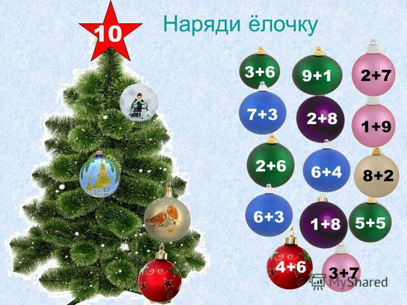 3+7 Наряди ёлочку 2+8 4+6 2+6 3+6 1+8 5+5 6+4 8+2 1+9 9+1 2+7 7+36+3 10