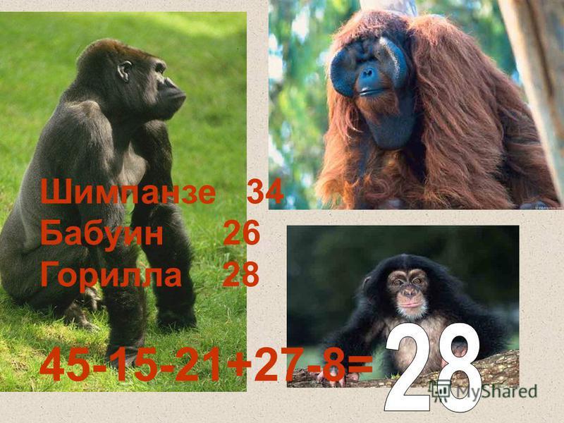 Шимпанзе 34 Бабуин 26 Горилла 28 45-15-21+27-8=