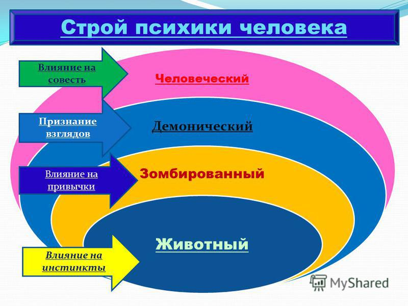 Человеческий Демонический Зомбированный Животный Строй психики человека Влияние на инстинкты Влияние на привычки Признание взглядов Влияние на совесть