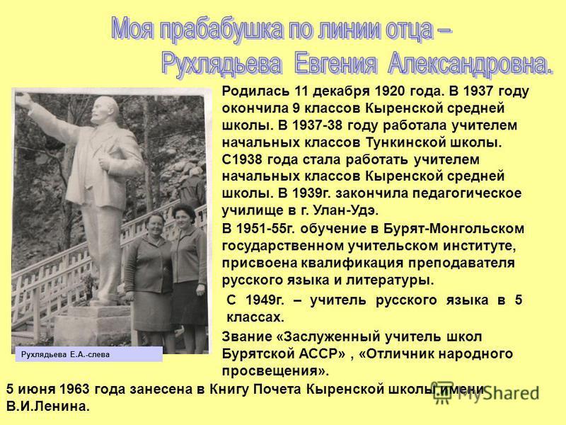 Родилась 11 декабря 1920 года. В 1937 году окончила 9 классов Кыренской средней школы. В 1937-38 году работала учителем начальных классов Тункинской школы. С1938 года стала работать учителем начальных классов Кыренской средней школы. В 1939 г. законч