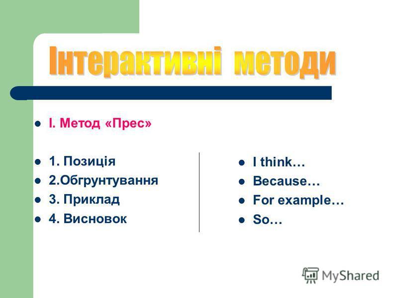 І. Метод «Прес» 1. Позиція 2.Обгрунтування 3. Приклад 4. Висновок I think… Because… For example… So…