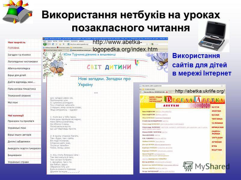 Використання нетбуків на уроках позакласного читання http://abetka.ukrlife.org/ http://www.abetka- logopedka.org/index.htm Використання сайтів для дітей в мережі Інтернет