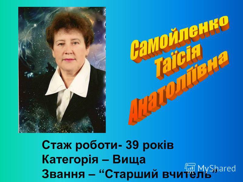 Стаж роботи- 39 років Категорія – Вища Звання – Старший вчитель