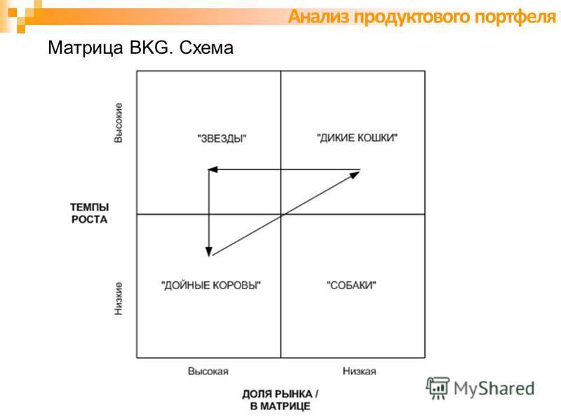 Матрица BKG. Схема Анализ продуктового портфеля