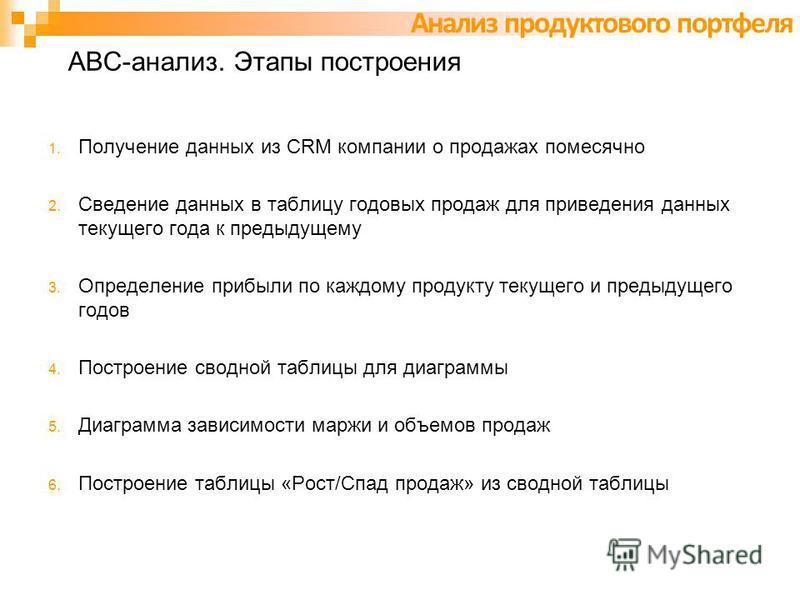 АВС-анализ. Этапы построения 1. Получение данных из CRM компании о продажах помесячно 2. Сведение данных в таблицу годовых продаж для приведения данных текущего года к предыдущему 3. Определение прибыли по каждому продукту текущего и предыдущего годо