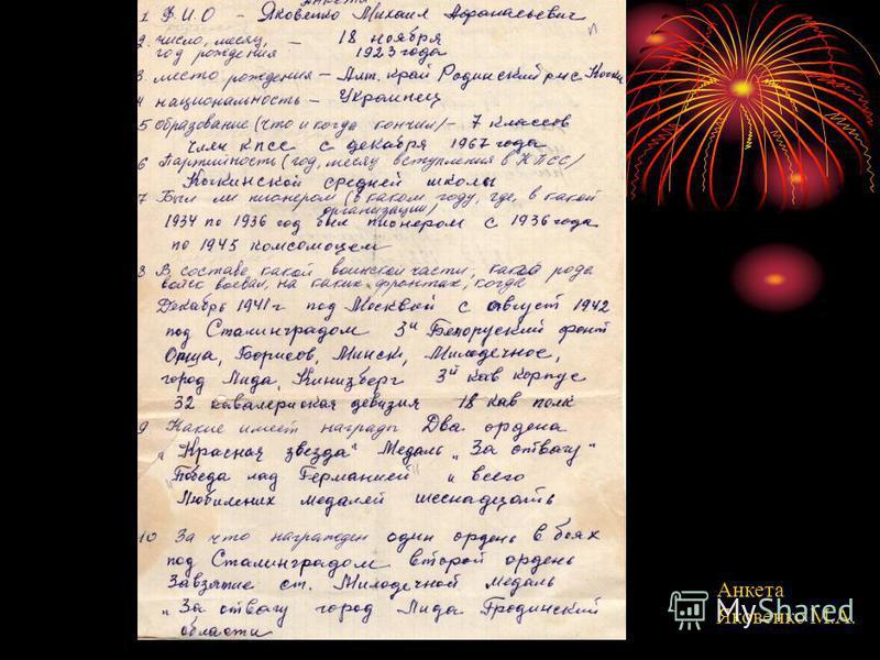 Анкета Яковенко М.А.