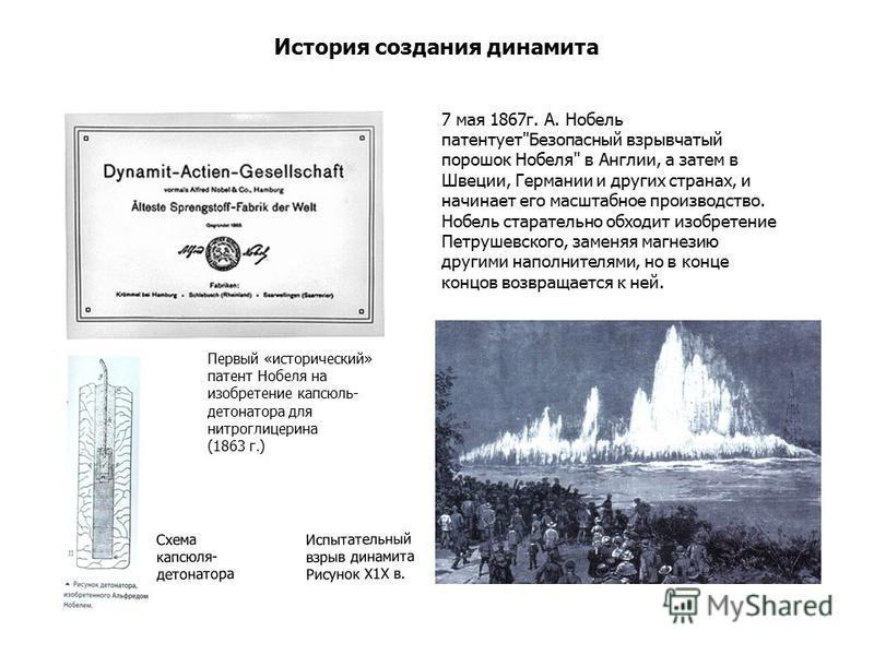 История создания динамита 7 мая 1867 г. А. Нобель патентует