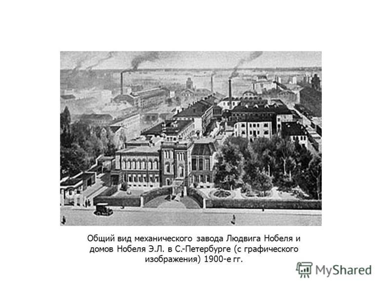 Общий вид механического завода Людвига Нобеля и домов Нобеля Э.Л. в С.-Петербурге (с графического изображения) 1900-е гг.