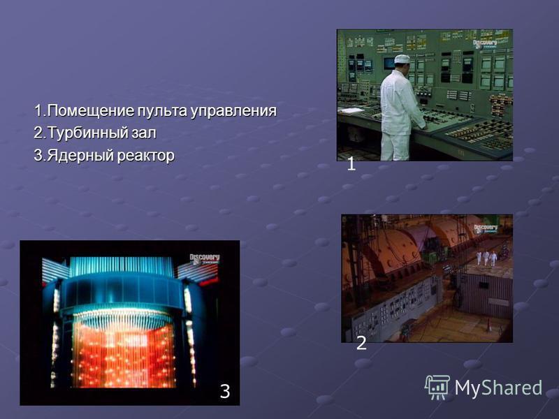 1. Помещение пульта управления 2. Турбинный зал 3. Ядерный реактор 1 2 3