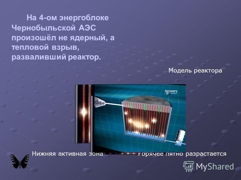 На 4-ом энергоблоке Чернобыльской АЭС произошёл не ядерный, а тепловой взрыв, разваливший реактор. Нижняя активная зона Горячее пятно разрастается Модель реактора