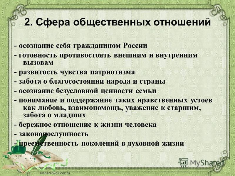 2. Сфера общественных отношений - осознание себя гражданином России - готовность противостоять внешним и внутренним вызовам - развитость чувства патриотизма - забота о благосостоянии народа и страны - осознание безусловной ценности семьи - понимание