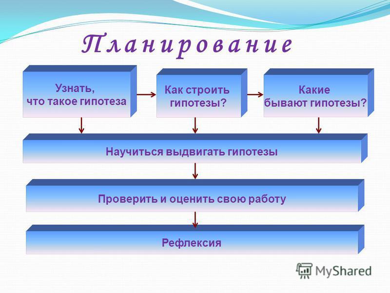 П л а н и р о в а н и е Узнать, что такое гипотеза Как строить гипотезы? Научиться выдвигать гипотезы Проверить и оценить свою работу Какие бывают гипотезы? Рефлексия