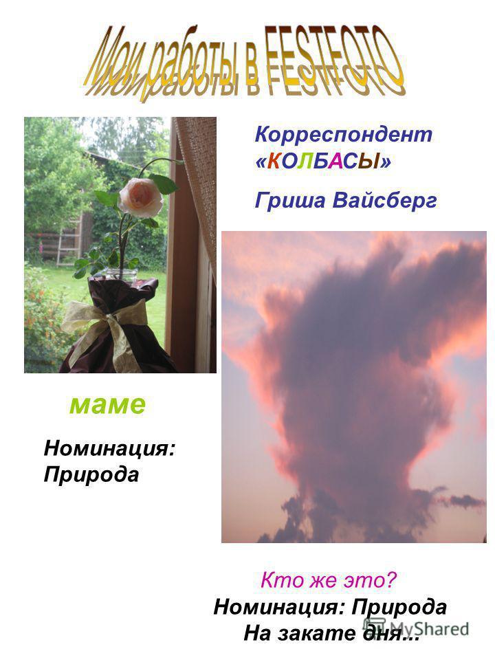 маме Номинация: Природа Кто же это? Номинация: Природа На закате дня... Корреспондент «КОЛБАСЫ» Гриша Вайсберг