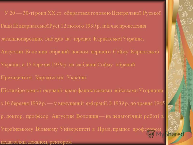 У 20 30-ті роки ХХ ст. обирається головою Центральної Руської Ради Підкарпатської Русі.12 лютого 1939 р. під час проведення загальнонародних виборів на теренах Карпатської України, Августин Волошин обраний послом першого Сойму Карпатської України, а