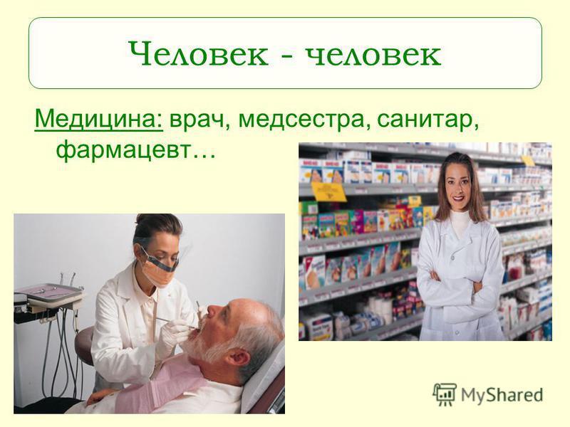 Медицина: врач, медсестра, санитар, фармацевт… Человек - человек