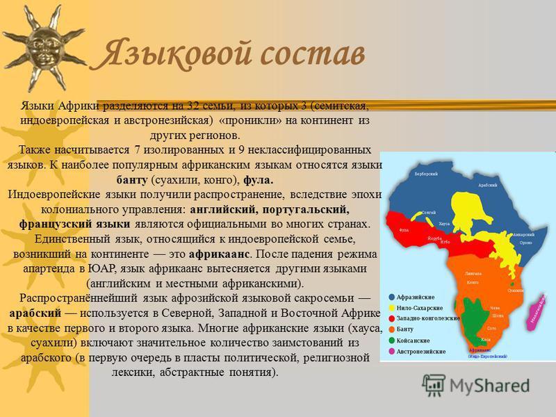 Языковой состав Языки Африки разделяются на 32 семьи, из которых 3 (семитская, индоевропейская и австронезийская) «проникли» на континент из других регионов. Также насчитывается 7 изолированных и 9 неклассифицированных языков. К наиболее популярным а