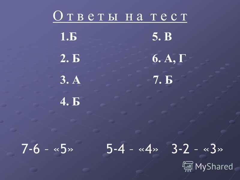 О т в е т ы н а т е с т 1. Б 5. В 2. Б 6. А, Г 3. А 7. Б 4. Б 7-6 – «5» 5-4 – «4» 3-2 – «3»