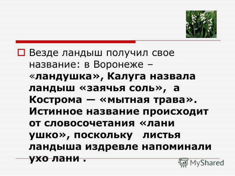 Везде ландыш получил свое название: в Воронеже – «ландушка», Калуга назвала ландыш «заячья соль», а Кострома «мытная трава». Истинное название происходит от словосочетания «лани ушко», поскольку листья ландыша издревле напоминали ухо лани.