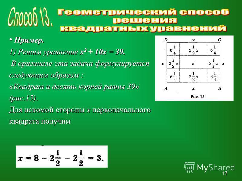 Пример. Пример. 1) Решим уравнение х 2 + 10 х = 39. В оригинале эта задача формулируется В оригинале эта задача формулируется следующим образом : «Квадрат и десять корней равны 39» (рис.15). Для искомой стороны х первоначального квадрата получим 17