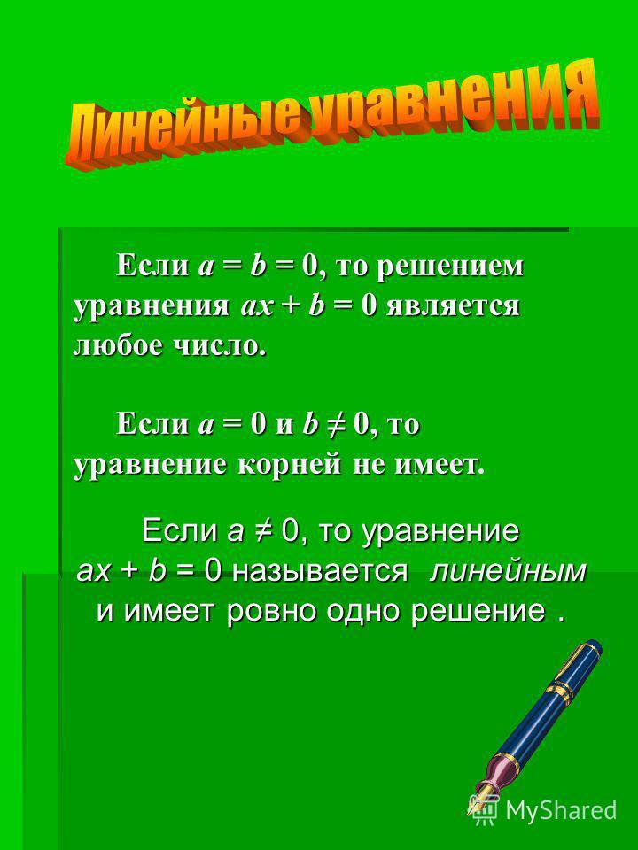 Если a 0, то уравнение ax + b = 0 называется линейным и имеет ровно одно решение. Если a = b = 0, то решением уравнения ax + b = 0 является любое число. Если a = 0 и b 0, то уравнение корней не имеет Если a = 0 и b 0, то уравнение корней не имеет.