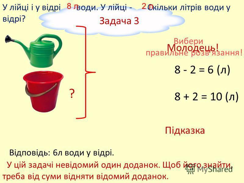 Задача 2 У лійку кота Матроскина вміщується води, а у відро Шарика - На скільки літрів більше води у відрі, ніж у лійці? 6 л 2 л Вибери правильне розвязання! на ? більше 6 + 2 = 8 (л) 6 - 2 = 4 (л) Відповідь: на 4л більше води у відрі. Молодець! Підк