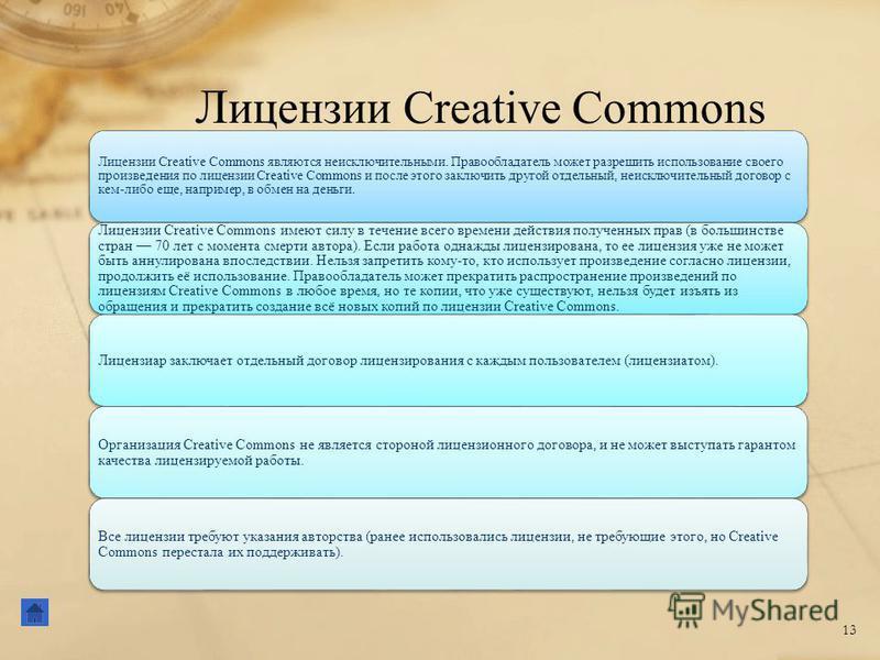 Л ицензии Creative Commons 13 Лицензии Creative Commons являются неисключительными. Правообладатель может разрешить использование своего произведения по лицензии Creative Commons и после этого заключить другой отдельный, неисключительный договор с ке