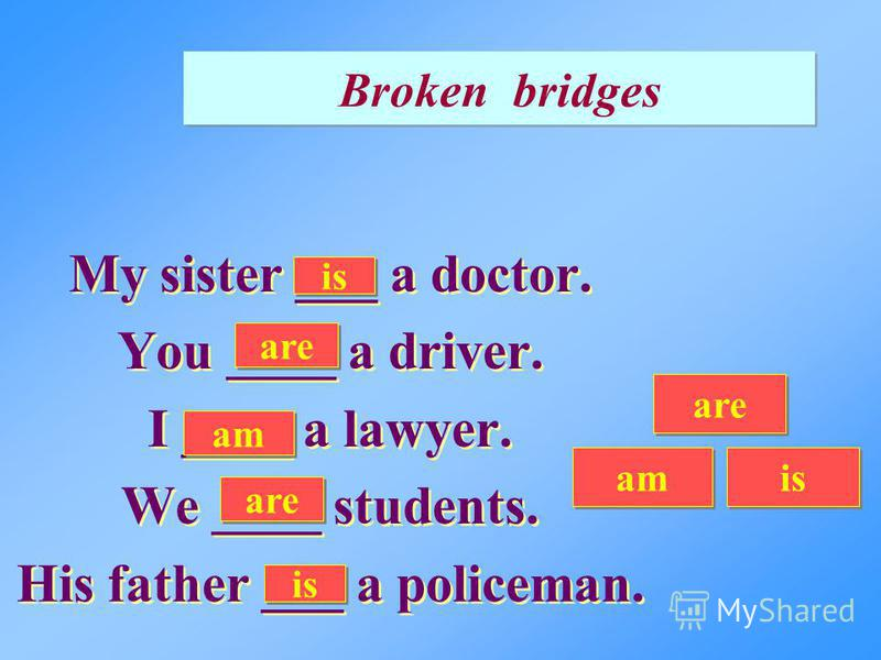 Broken bridges My sister ___ a doctor. You ____ a driver. I ____ a lawyer. We ____ students. His father ___ a policeman. My sister ___ a doctor. You ____ a driver. I ____ a lawyer. We ____ students. His father ___ a policeman. am is are is am are
