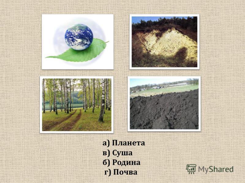 а) Планета в) Суша б) Родина г) Почва