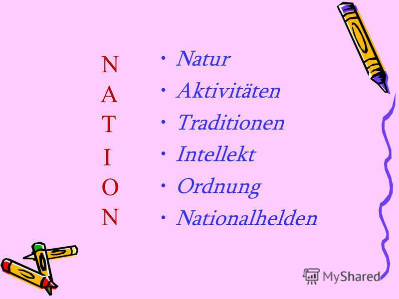 Natur Aktivitäten Traditionen Intellekt Ordnung Nationalhelden N A T I O N