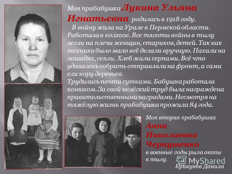 Моя прабабушка Лукина Ульяна Игнатьевна родилась в 1918 году. В войну жила на Урале в Пермской области. Работала в колхозе. Все тяготы войны в тылу легли на плечи женщин, стариков, детей. Так как техники было мало всё делали вручную. Пахали на лошадя