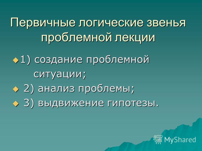 Первичные логические звенья проблемной лекции 1) создание проблемной 1) создание проблемной ситуации; ситуации; 2) анализ проблемы; 2) анализ проблемы; 3) выдвижение гипотезы. 3) выдвижение гипотезы.