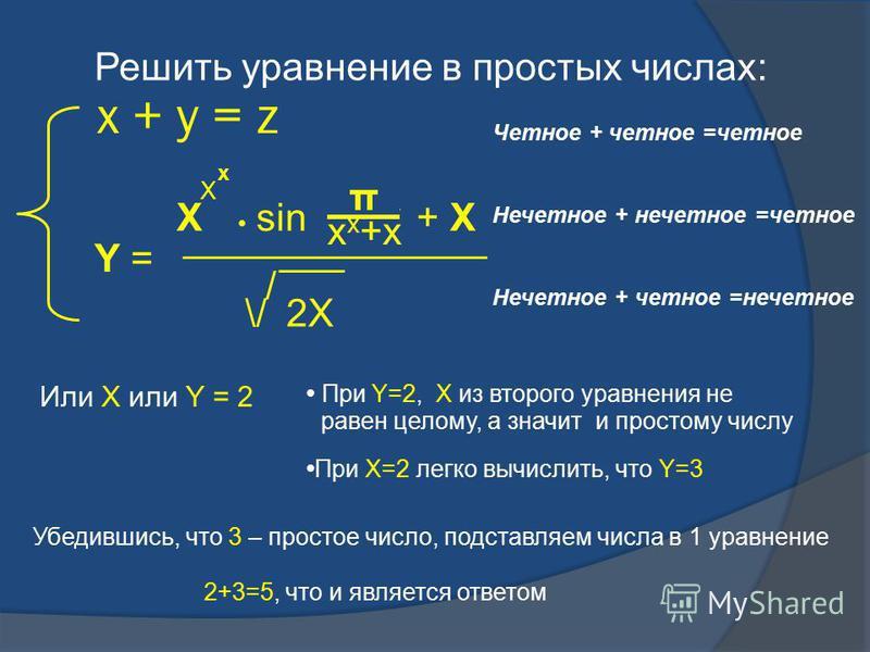 x + y = z X x X sin π f x x +x + X Y = ______________ \/ / ___ 2X Решить уравнение в простых числах: Четное + четное =четное Нечетное + нечетное =четное Нечетное + четное =нечетное Или Х или Y = 2 При Y=2, Х из второго уравнения не При Х=2 легко вычи