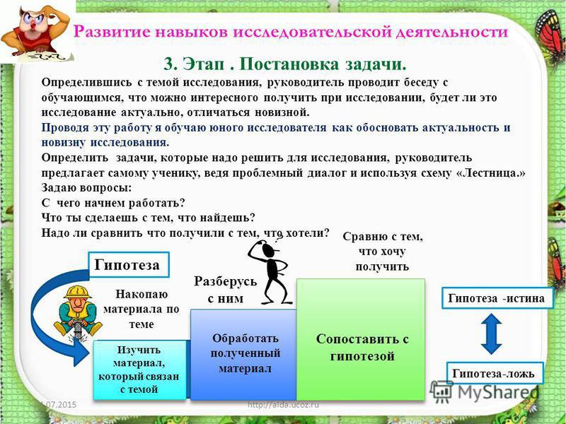 24.07.2015http://aida.ucoz.ru13 Развитие навыков исследовательской деятельности 3. Этап. Постановка задачи. Определившись с темой исследования, руководитель проводит беседу с обучающимся, что можно интересного получить при исследовании, будет ли это
