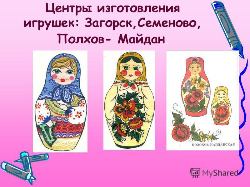 Центры изготовления игрушек: Загорск,Семеново, Полхов- Майдан.