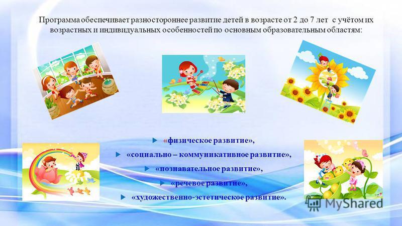 Программа обеспечивает разностороннее развитие детей в возрасте от 2 до 7 лет с учётом их возрастных и индивидуальных особенностей по основным образовательным областям: «физическое развитие», «социально – коммуникативное развитие», «познавательное ра